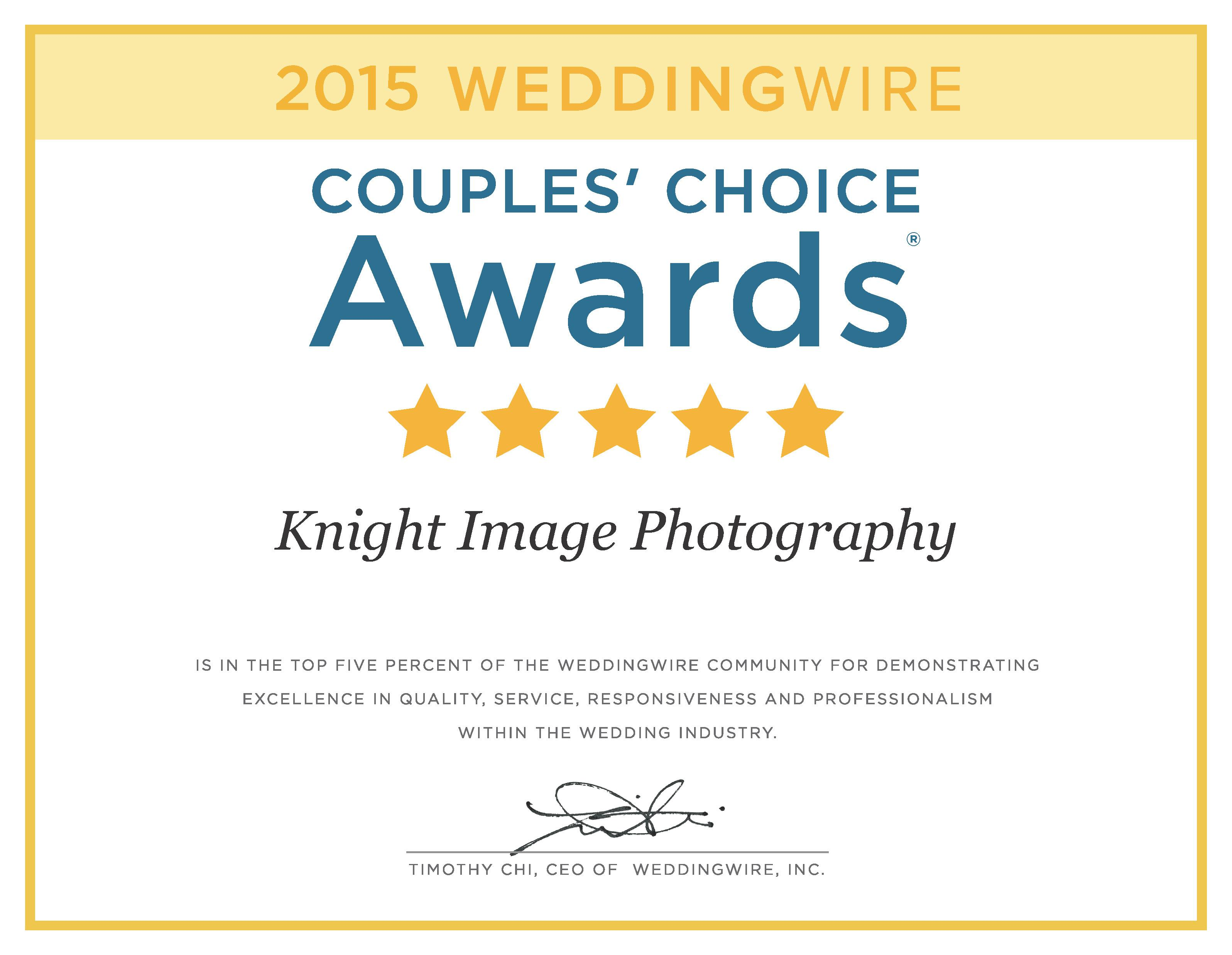 Knight Image Photography Receives 2015 Couples' Choice Award